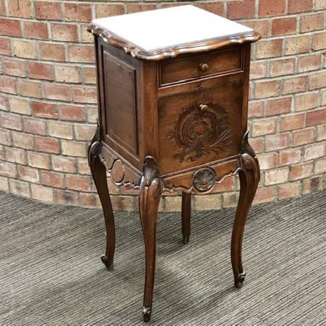 Late 19th Century French Walnut Bedside Cabinet image-2