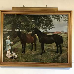 Large Framed Oil on Canvas of Young Girls feeding Two Horses by WE Millner