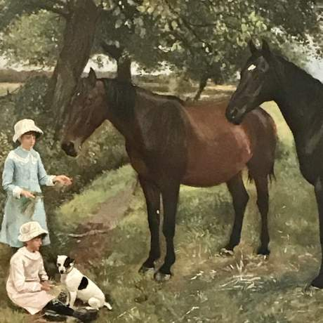 Large Framed Oil on Canvas of Young Girls feeding Two Horses by WE Millner image-2