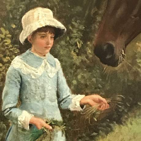 Large Framed Oil on Canvas of Young Girls feeding Two Horses by WE Millner image-4