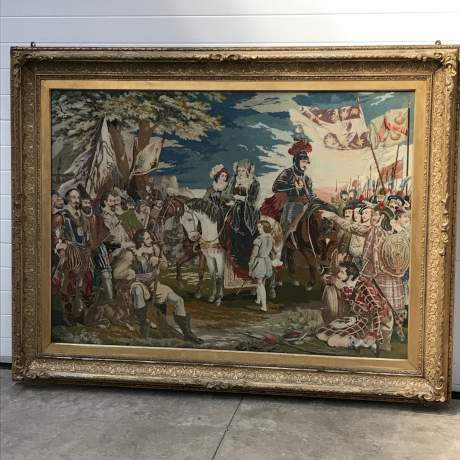 Large and Impressive 19th Century Embroidered Tapestry of Mary Queen of Scots image-1