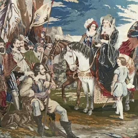 Large and Impressive 19th Century Embroidered Tapestry of Mary Queen of Scots image-2