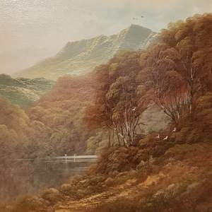 Original Oil on Canvas Scene of White Water on The River Wye