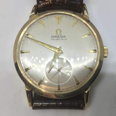 Vintage Omega Tiffany and Co 14ct Gold Watch image-1