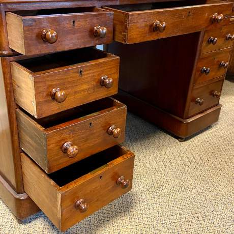 Victorian Mahogany Twin Pedestal Desk image-3