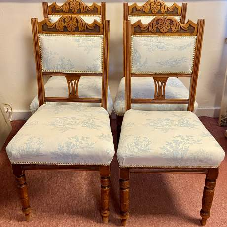 Set of 4 Edwardian Toile de Jouy Dining Chairs image-1