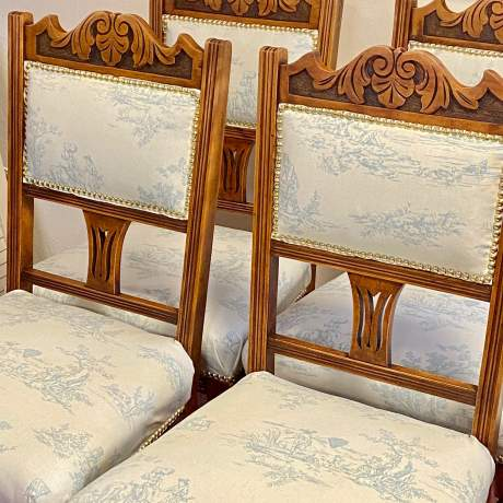 Set of 4 Edwardian Toile de Jouy Dining Chairs image-2