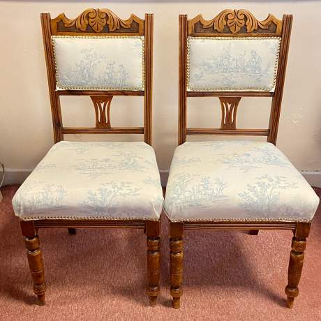 Set of 4 Edwardian Toile de Jouy Dining Chairs image-3
