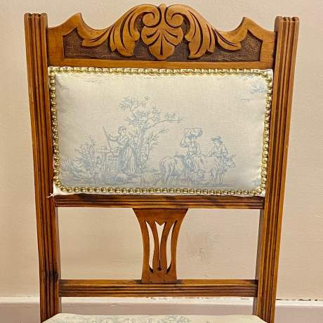 Set of 4 Edwardian Toile de Jouy Dining Chairs image-5