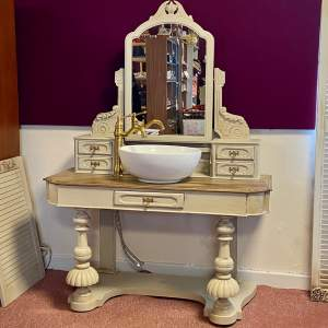 French Style Antique Vanity Unit with Mirror Basin Tap and Plug