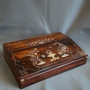 William IV Inlaid Rosewood Lap Desk