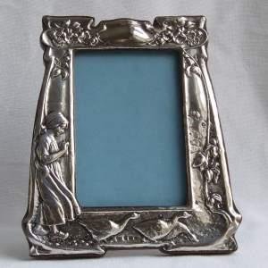 Art Nouveau Silver Photograph Frame of The Goose Girl