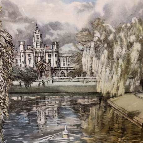 St Johns College From Trinity Bridge Railway Carriage Print image-4