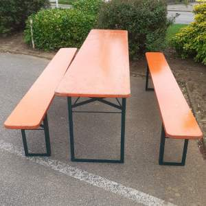 Vintage Beer Table with Two Benches