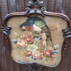 19th Century Mahogany Pole Screen with Fine Crewel Work