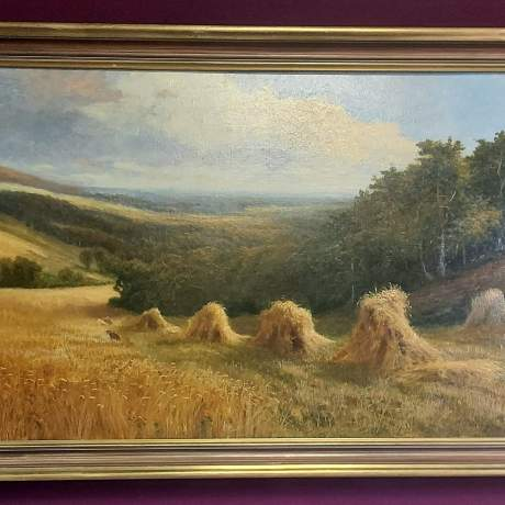 Daniel Sherrin Signed Oil on Canvas Landscape Painting with Haystacks image-1
