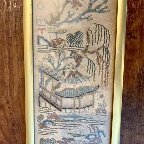 Framed Qing Dynasty Chinese Silk Sleeve image-1