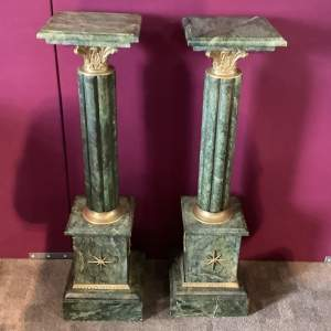 Pair of Solid Marble Columns