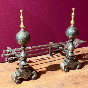 Victorian Set of Steel Fire Irons and Fire Dogs