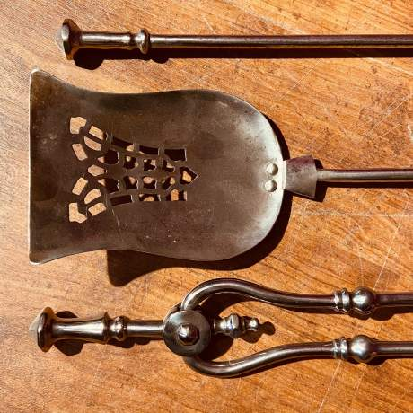 Victorian Set of Steel Fire Irons and Fire Dogs image-6