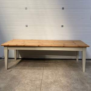 Large Pine Farmhouse Table with Painted Legs
