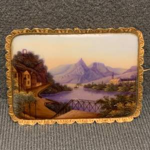 Hand Painted Plaque Brooch set in 9ct Gold