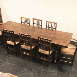 Quality 20th Century Oak Refectory Dining Table and 10 Associated Lancashire Ladder Back Chairs