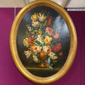 Pair of Decorative Still Life Oil Paintings in Oval Frames