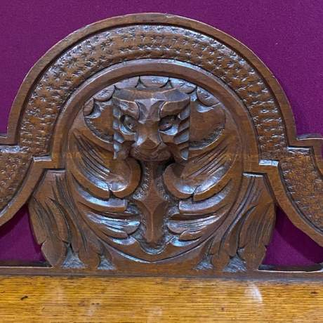 Victorian Carved Oak Green Man Hall Bench Seat image-3