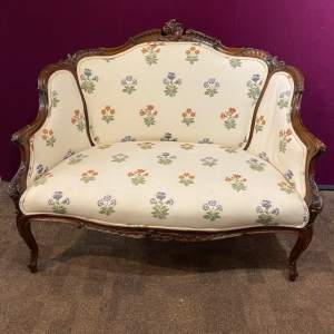 Edwardian Period French Walnut Framed Settee
