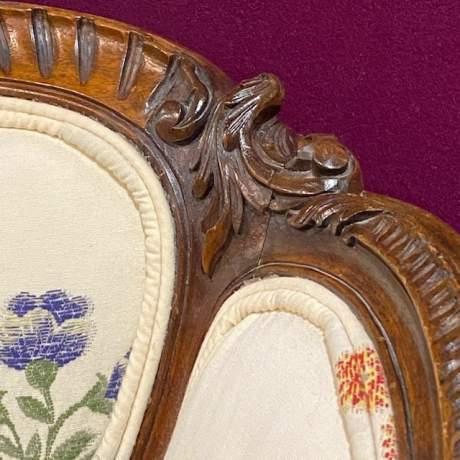 Edwardian Period French Walnut Framed Settee image-4