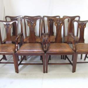 Set Of Eight Mahogany Inlaid Dining Chairs With Leather Seats