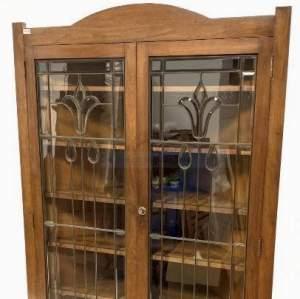 Art Nouveau Glazed Walnut Corner Cupboard