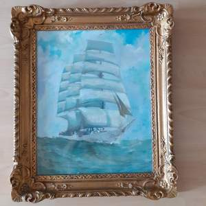 Belgian School Pastel of the Vessel L'AVENIR - Signed and Dated
