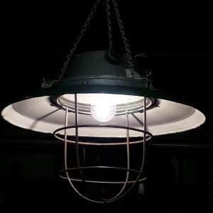 Vintage Industrial Green Enamel Electric Lamp Large Ships Pendant Ceiling Light