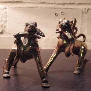 Tibetan Pair of Decorative Antique Brass Temple Guard Foo Dogs