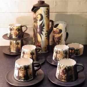 Celtic Pottery Newlyn Cornwall 1960s Studio Phoenix Coffee Set