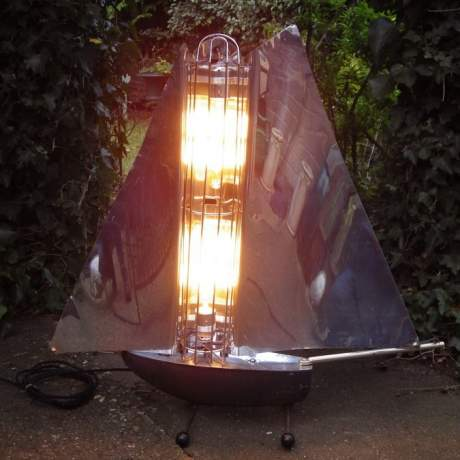 Art Deco 1940s Bunting Chrome Yacht Fire Lamp image-2