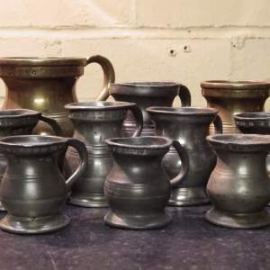 19th Century Collection of Ten Brass and Pewter Tavern Measures
