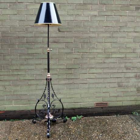 Arts and Crafts Copper and Wrought Iron Standard Lamp image-1