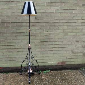 Arts and Crafts Copper and Wrought Iron Standard Lamp