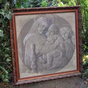 19th Century Framed Beadwork Tapestry of Raphaels Madonna of the Chair