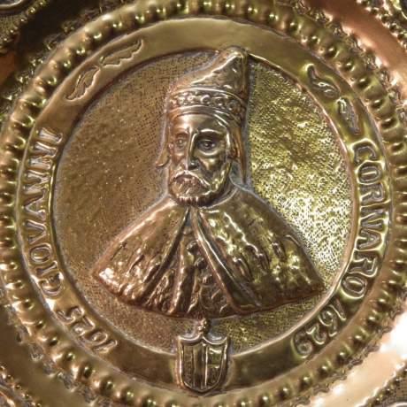 Gothic Revival 17th Giovanni Cornaro 19th Century Brass Alms Dish image-2