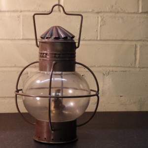 Antique Maritime Copper Onion Shaped Ships Oil Lamp
