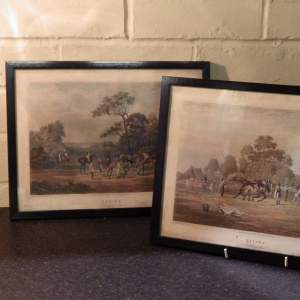 Antique Pair of Early 20th Century Medici Society Horse Racing Prints