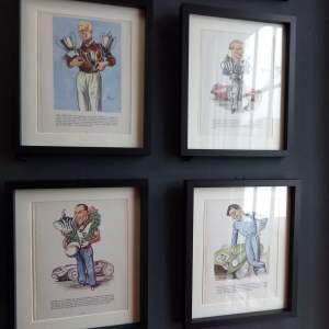 Motor Racing Drivers Set of Eight 1950s Vintage Framed Prints