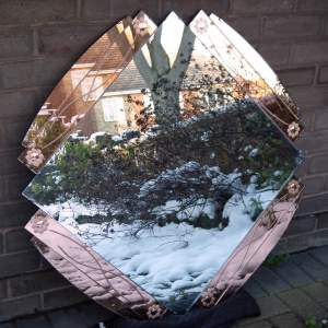Art Deco 1930s Peach Glass Large Size Wall Mirror