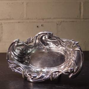 Art Nouveau Original Antique 1918 Silver Dish