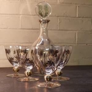 Pretty 1930s Art Deco Thistle Gilt Decorated Glass Decanter Set