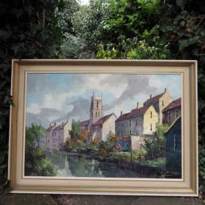 Tiverton Devon Large Signed Oil Painting on Canvas Pretty River Scene